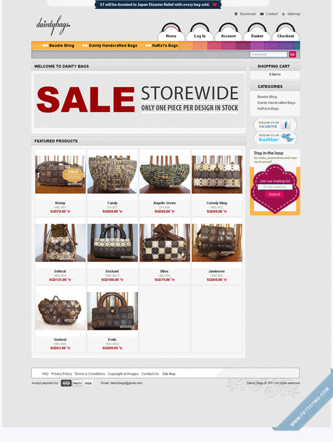 Dainty Bags - eCommerce Shopping Cart Design